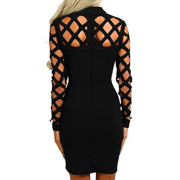 Sexy Hollow Out Bandage Dress 2017 Explosion Women Long Sleeve Hollow Out Dress Sexy Nightclub Vestidos Plus Size GV504