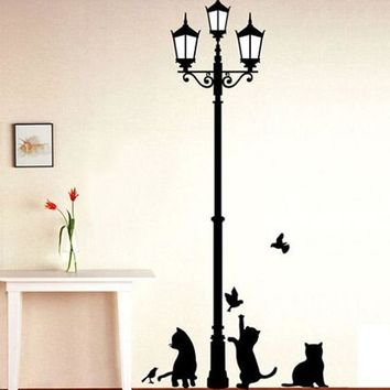 Ancient Lamp with Cats & Birds Wall Decals