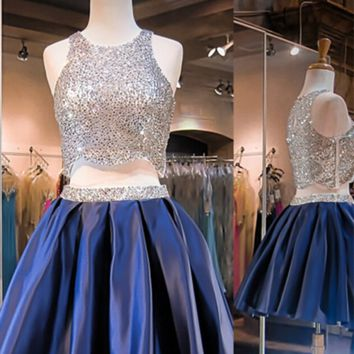 Sparkling Scoop Sliver Sequin Two-pieces Blue Homecoming Dress Prom dress