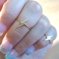 Lightning Bolt Knuckle Ring-Layering Above the Knuckle Gold Brass Stackable Midi Ring