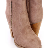 Taupe Chunky Heel Ankle Booties Faux Suede