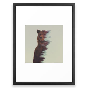 Society6 Observing Bear Framed Print
