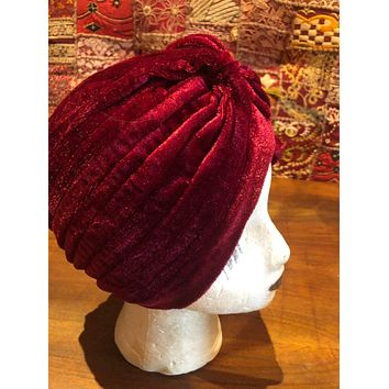 Vintage Red stretch velvet Deco Turban Hat