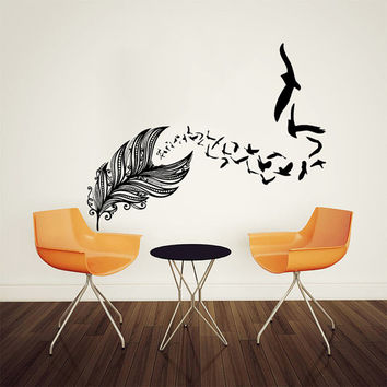 Wall Decal Vinyl Sticker Decals Art Home Decor Design Mural Feather Birds Nib Style Feather Peacock Living Room Modern Fashion Bedroom AN139