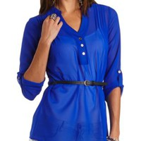 Belted Chiffon Tunic Top by Charlotte Russe - Blue