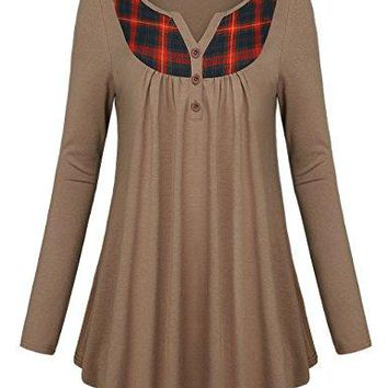 MCKOL Womens Long Sleeve Plaid Henley Neck Button Tunic Pleated Front Shirts