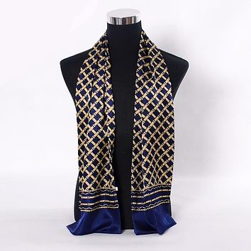 Navy Blue Gold Plaid Men Silk Scarves Fashion Accessories Autumn Winter Male Pure Silk Long Scarves Cravat
