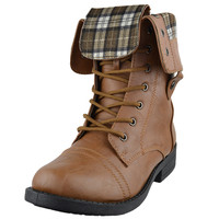 Womens Mid Calf Boots Fold Over Cuff Lace Up Combat Shoes Tan SZ