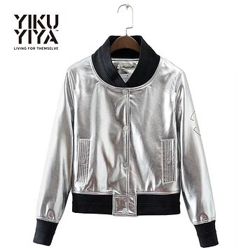 YIKUYIYA New Punk Silver Women Bomber Jacket Single Breasted PU Casual Coat Stand Collar Long Sleeve Pockets Streetwear Jacket