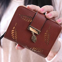 Women PU Leather Leaves Hollow Wallet Purse Small Wallet