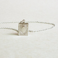 Dear Diary - Small Silver Tone Book Locket Necklace - Gift for Her - Gift under 15 - Square Necklace