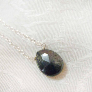 Smoky Quartz Faceted Briolette necklace - Sterling Silver or Gold Filled Chain with semi-precious gemstone - dainty, natural gem