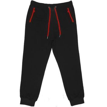 Black French Terry Joggers - Red Zippers (Jordan 11 Gym Red)