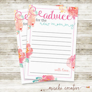 "Watercolor Floral New Mom DIY Printable Advice Cards, 4"" x 6"""