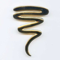 """Vintage Squiggle Gold Tone Brooch Pin Large 2-3/4"""" Tall 1980s"""