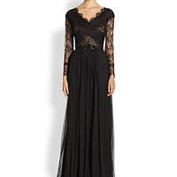 Belted Lace & Silk Chiffon Dress - Zoom - Saks Fifth Avenue Mobile