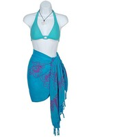1 World Sarongs Women's Batik Butterfly Turquoise/ Purple Half Sarong (Indonesia) | Overstock.com Shopping - The Best Deals on Sarongs/Cover Ups