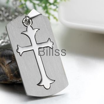 SHIPS FROM USA 2017 New Dog Tag Cross Necklace 316L Stainless Steel Pendant Necklaces For Men with 22 inch Chain colgantes hombre