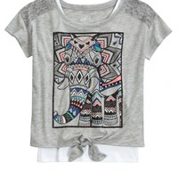 LACE TIE FRONT 2FER   GIRLS TOPS CLOTHES   SHOP JUSTICE