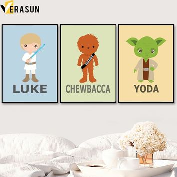Star Wars Force Episode 1 2 3 4 5 VERASUN  Posters And Prints Canvas Painting Pop Art Movie Poster Wall Pictures Nordic Style Kids Decoration Quadro AT_72_6