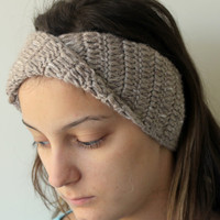 Hand Crocheted Eqru Cable Headband / Ear Warmer / Gift for Womens and Girls / 2014 Turban Style