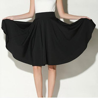 Midi Skirt 2016 Summer skirts womens High Waist Pleated A Line Skater Casual saias Knee Length Saia Petticoat office skirt