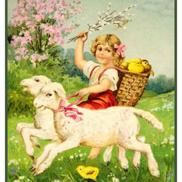Vintage Easter Young Girl Riding Lambs With Baby Chicks Counted Cross Stitch Or Needlepoint Pattern