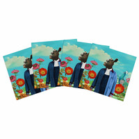 "Natt ""Family Portrait N2"" Blue Cow Indoor/Outdoor Place Mat (Set of 4)"