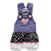 Cute white Dot Puppy Dress Cat Strap Denim Skirt Summer Pet Dog Clothes Apparels Size XS-XL