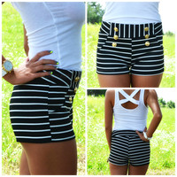 SZ SMALL Coastal Bliss Black Striped Mini Shorts