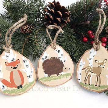 Hand Painted Wood Slice Ornaments, Woodland Animals Set, Hand Painted Ornaments, Chuldren Ornaments, Fox, Deer, Hedgehog, Wood Ornaments