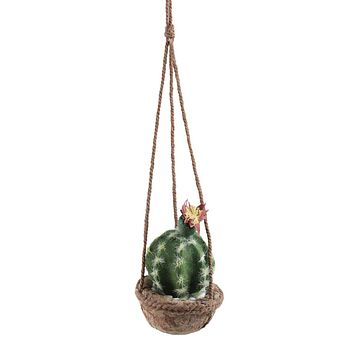 """7"""" Southwestern Style Hanging Green Potted Cactus with Flower"""