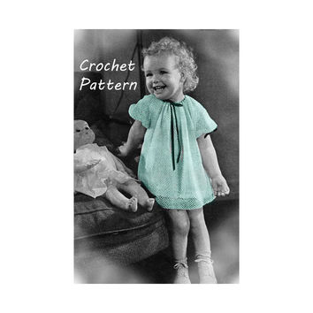 Little Toddler Girl's Dress Sizes 1 and 2 Crochet Pattern || Vintage 1940's || Reproduction PDF Instant Download Linda 5126-175