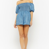 Chambray Smocked Off-the-Shoulder Romper