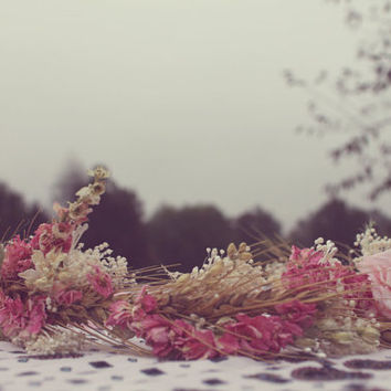 custom bridal crown, dried pink flower crown, blush pink flower crown, wheat crown, babys breath crown, pink rose crown, boho bride crown