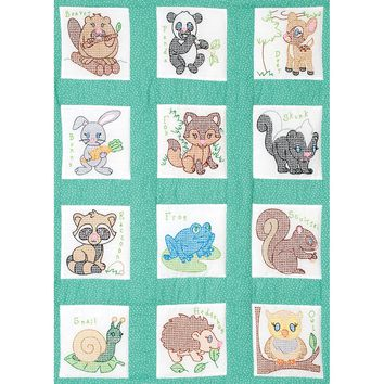 "Forest Friends Jack Dempsey Stamped White Nursery Quilt Blocks 9""X9"" 12/Pkg"