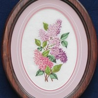 Lilacs Wall Art - Textile Framed Spring Lilac Flowers in Oval Shape