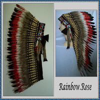 INDIAN CHIEF Headdress 80cm Red LIGHT BROWN fur Deluxe Native American Costume