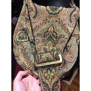 Vintage hand made cross body paisly brocade messenger hand bag
