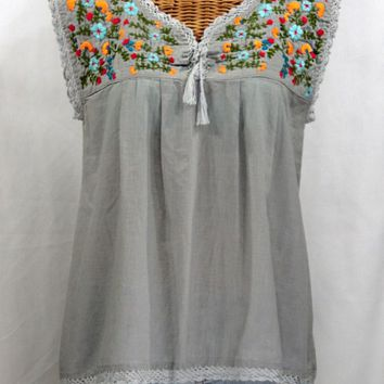 """La Marbrisa"" Sleeveless Mexican Blouse -Grey + Fiesta"
