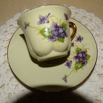 Vintage 1950's Ridgewood Original Demitasse Cup & Saucer, Violet Flower Pattern, Gold Trim, Tea Party China, Fine China Tea Cup Set