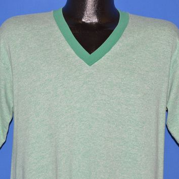 80s Blank Green Heathered V-Neck Rayon Tri Blend t-shirt Large