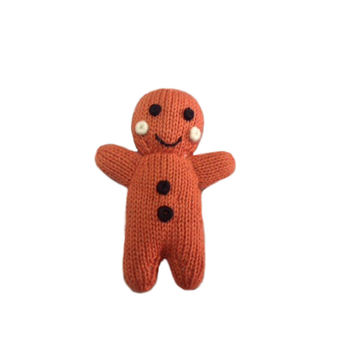 Organic Gingerbread Man Rattle Baby Toy