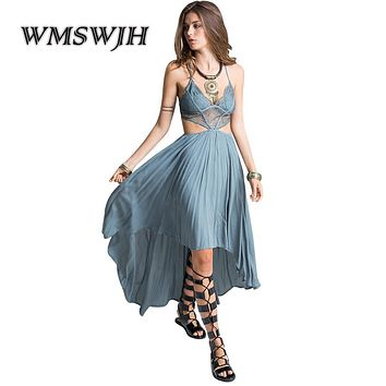 Sexy Summer Boho Beach Dresses V-neck Spaghetti Strap Hollow Out Holiday backless Women maxi Dress Hippie chic Vestidos Mujer