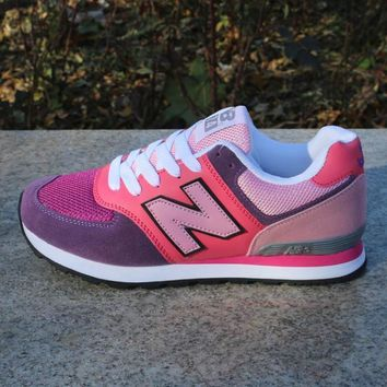 fashion online women men casual running new balance sport shoes sneakers rose red and blue color