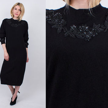 vintage 80s black angora knit sweater dress sequin floral