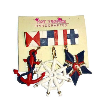 Vintage Nautical Anchor Brooch Ships Wheel Star Pin Broach 60s 70s Mod Sailor Fashion Jewelry 1960s UNUSED Handcrafted 1970s Handmade Gift