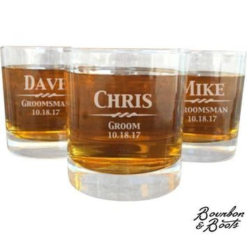 Personalized Old Fashion Whiskey Cocktail Glass Set