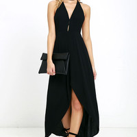 Misty Cove Black High-Low Halter Dress