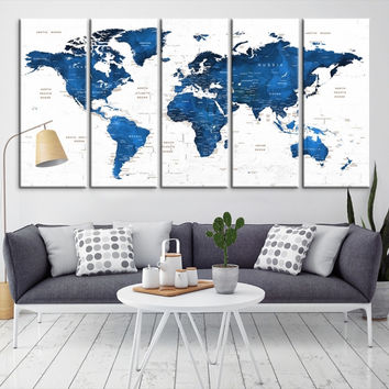 21929 - Large Wall Art World Map Canvas Print- Custom World Map Push Pin Wall Art- Custom World Map Canvas Poster Print- Personalized Wall Art